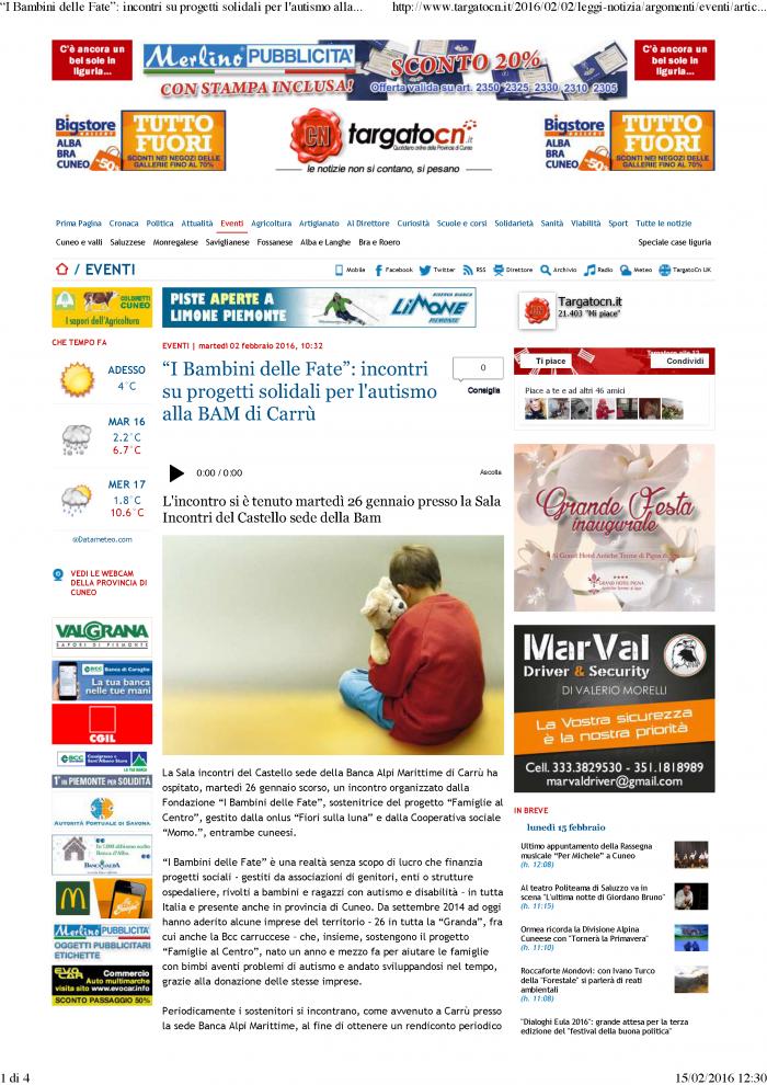 160202 Targato CN_Bam sostiene Famiglie al Centro_Pagina_1